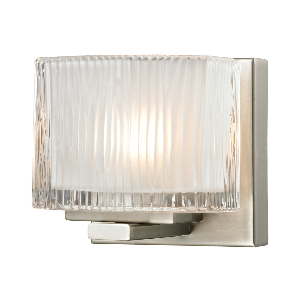 Chiseled Glass Collection 1 light bath in Brushed Nickel