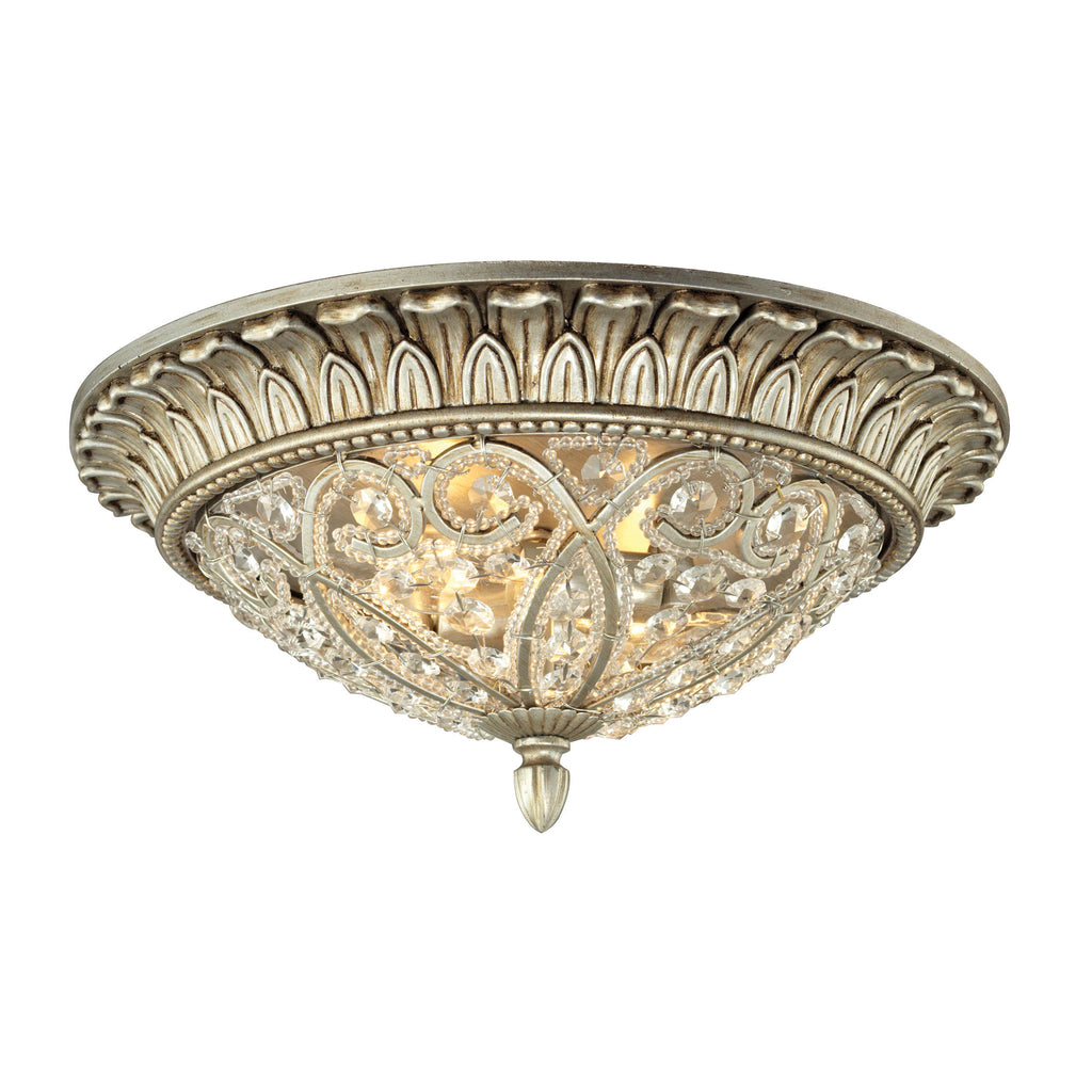 Andalusia Collection 2 light flush mount in Aged Silver