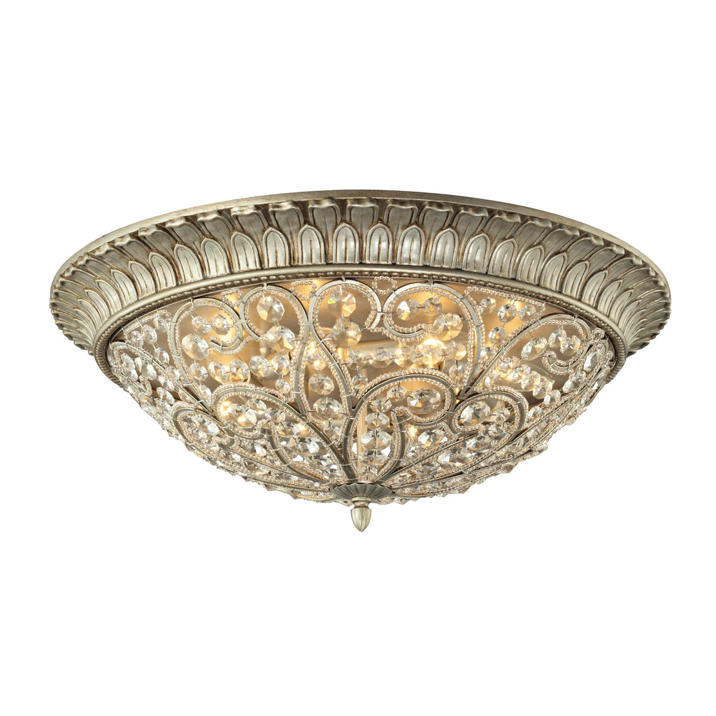 Andalusia Collection 8 light flush mount in Aged Silver