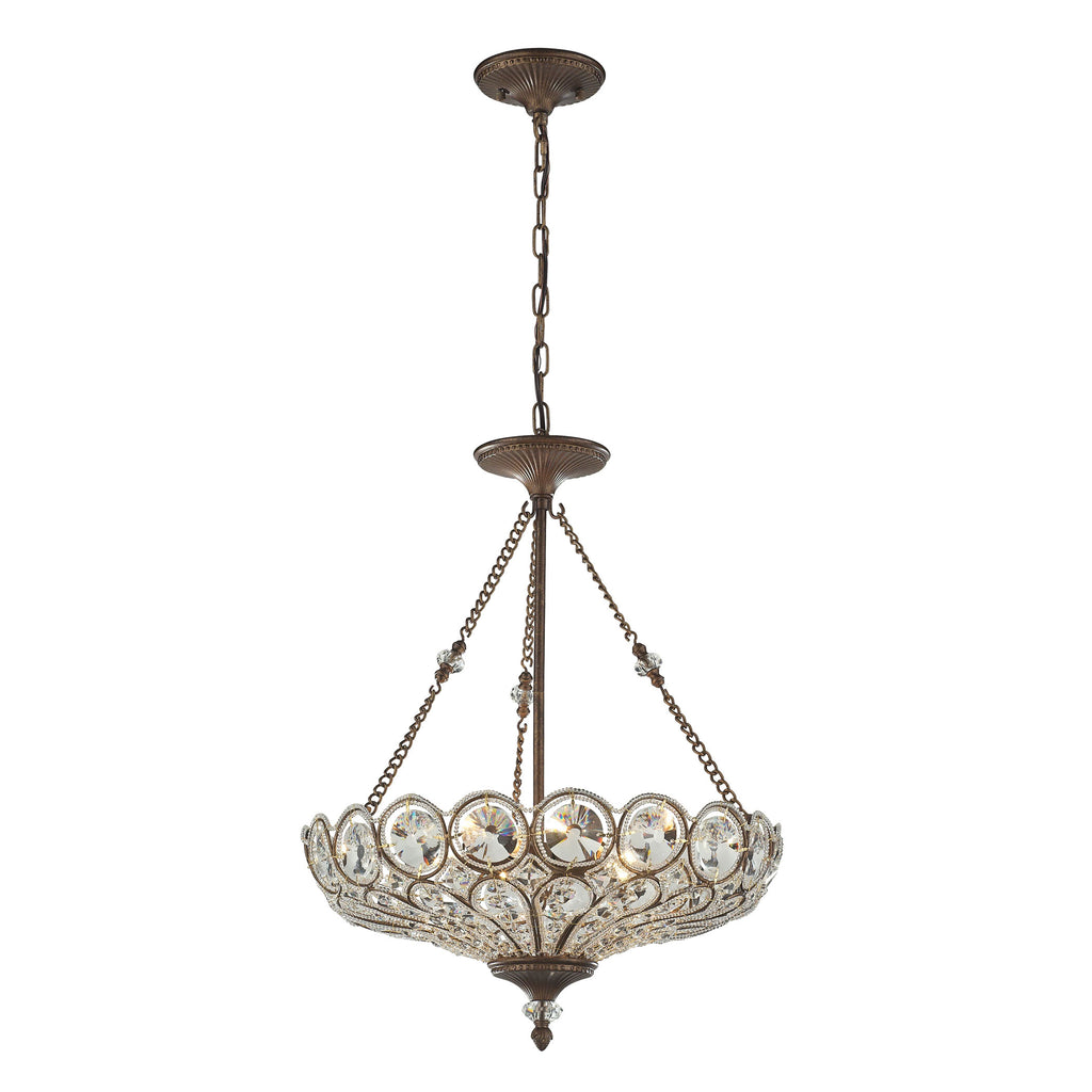 5 light pendant/semi flush in Mocha