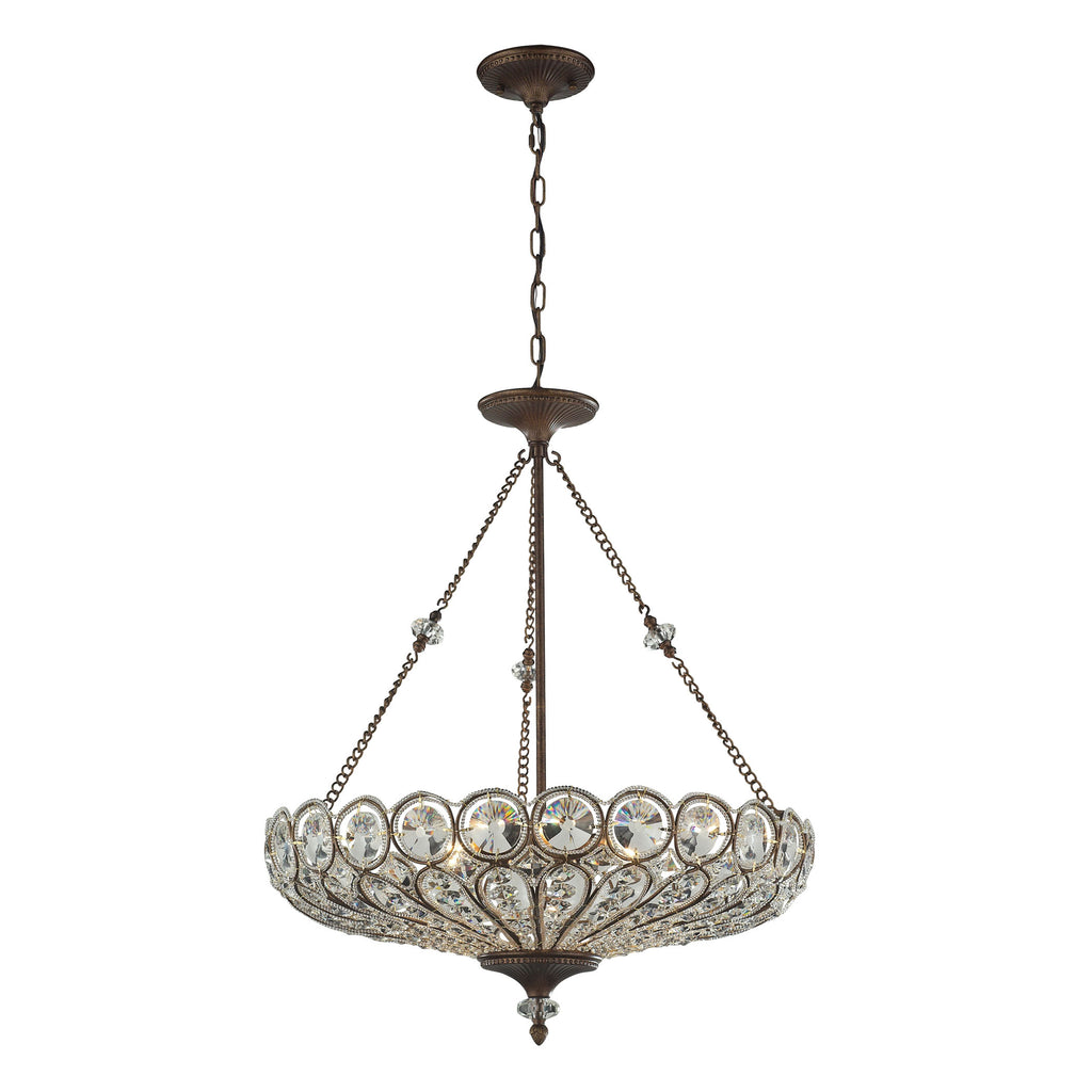 6 light pendant/semi flush in Mocha