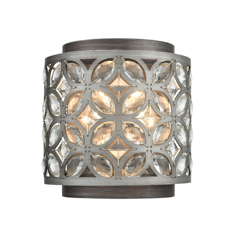 Rosslyn 2 Wall Sconce Weathered Zinc/Matte Silver