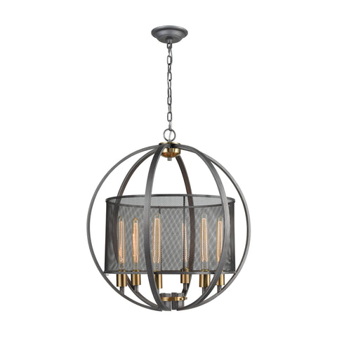 Ellicott 6 Pendant Weathered Zinc/Satin Brass