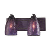 VANITY COLLECTION ELEGANT BATH LIGHTING 2-LIGHT PURPLE CRACkLED GLASS AND BACkPL