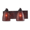 VANITY COLLECTION ELEGANT BATH LIGHTING 2-LIGHT RED CRACkLED GLASS AND BACkPLATE