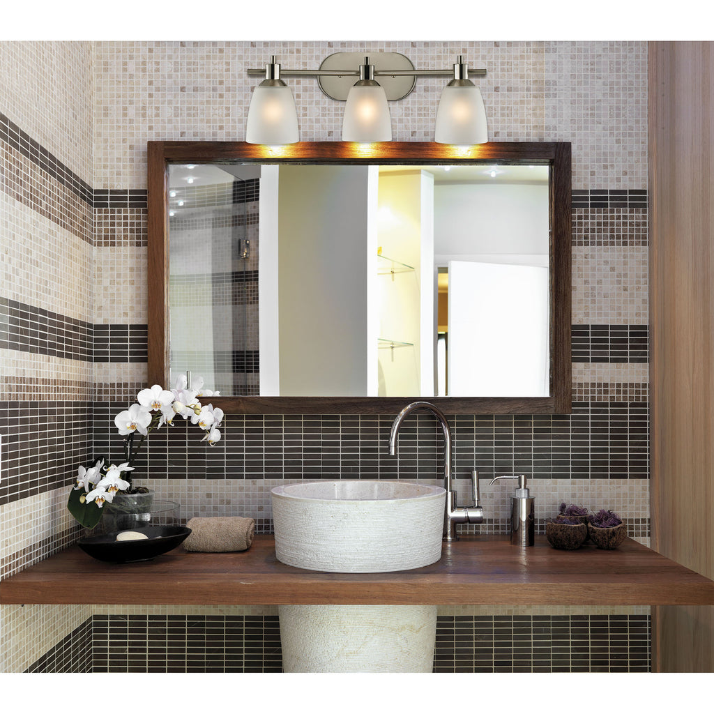 Jackson 3-Light Bath Bar in Brushed Nickel with White Glass