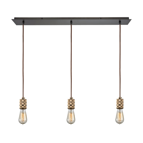 Camley 3 Light Pendant in Polished Gold and Oil Rubbed Bronze