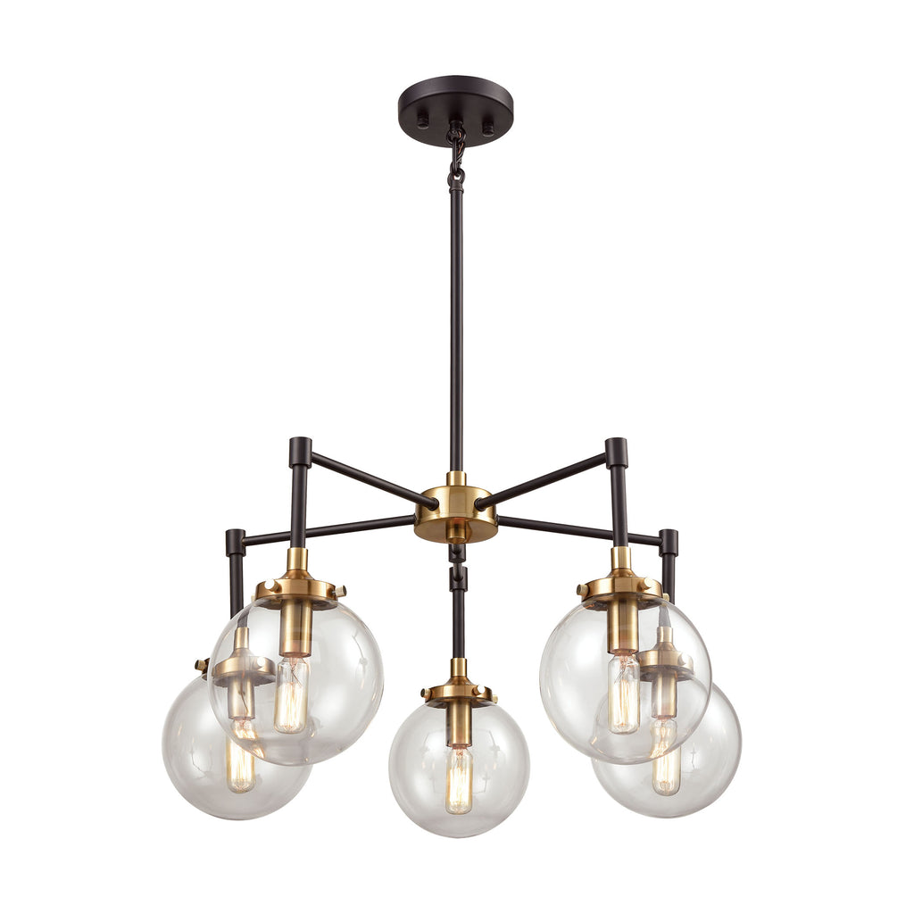 Boudreaux 5 Chandelier Matte Black/Antique Gold
