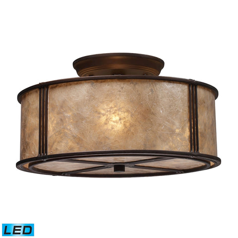 Barringer 3-Light Semi-Flush in Aged Bronze and Tan Mica Shade - LED, 800 Lumens (2400 Lumens Total)