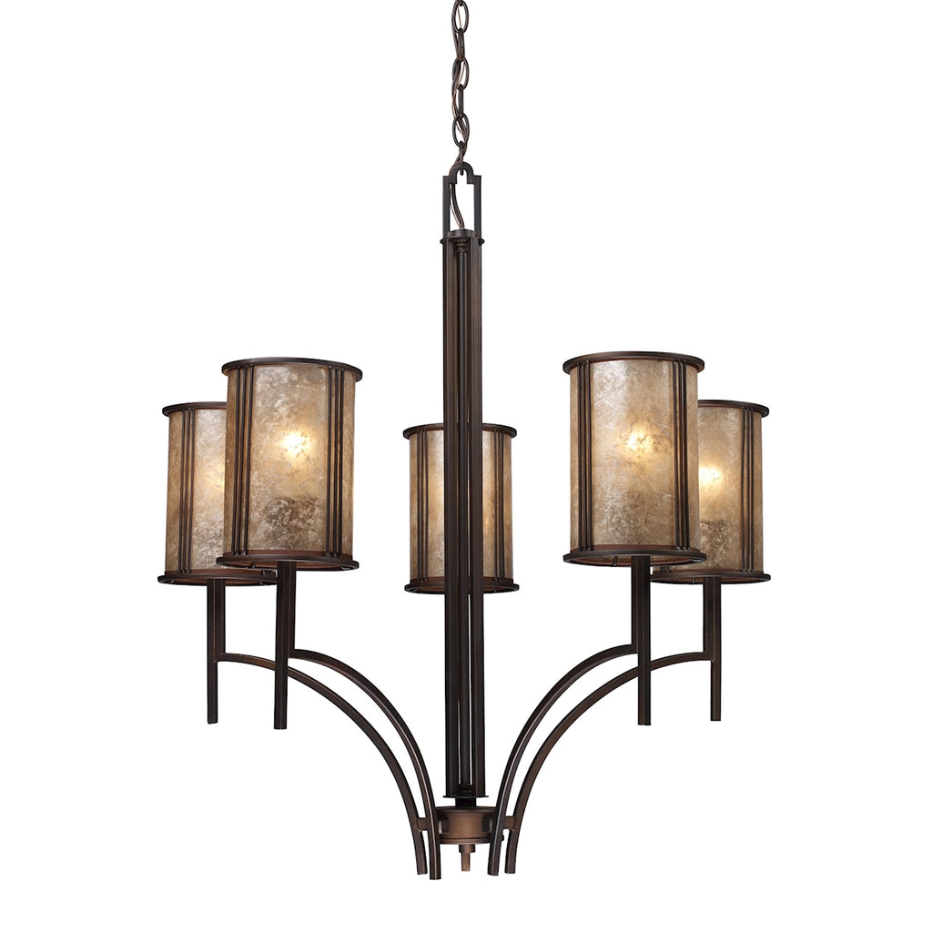Barringer 5-Light Chandelier in Aged Bronze and Tan Mica Shades