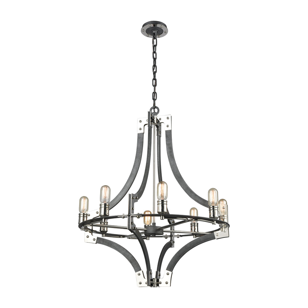 Riveted Plate 8 Chandelier Silverdust Iron/Polished Nickel