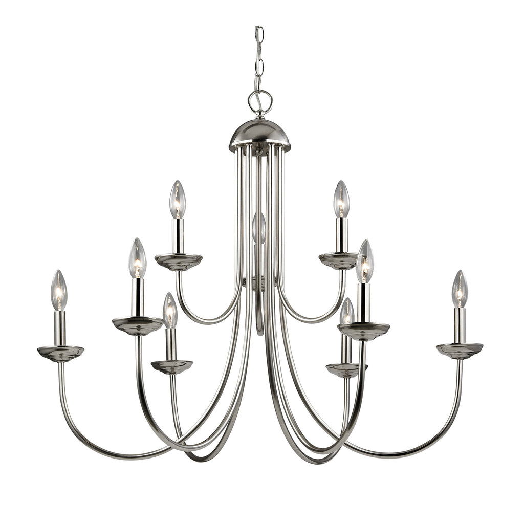 Williamsport 9 Light Chandelier In Brushed Nickel