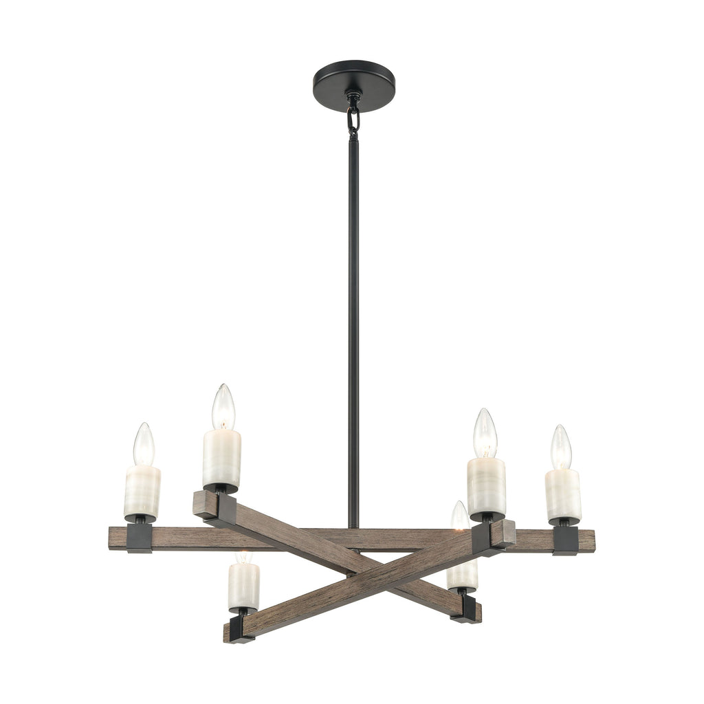 Stone Manor 6-Light Chandelier in Aspen and Matte Black