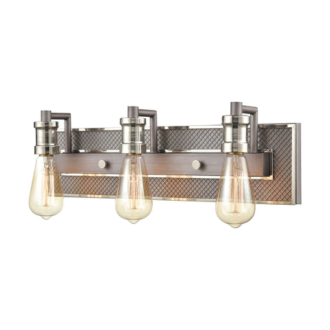 Gridiron 3-Light Vanity Light in Weathered Zinc and Polished Nickel