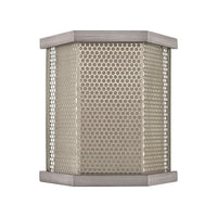 Crestler 2-Light Sconce in Weathered Zinc and Polished Nickel Mesh with Beige Fabric Shade