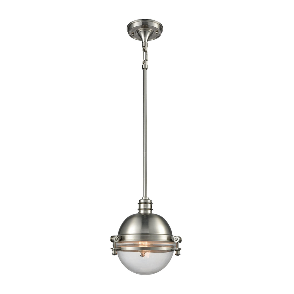 Riley 1 Light Pendant in Satin Nickel with Clear Glass
