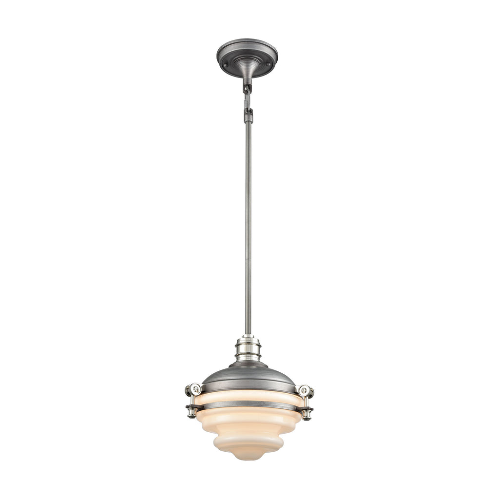 Riley 1 Pendant Weathered Zinc/Polished Nickel