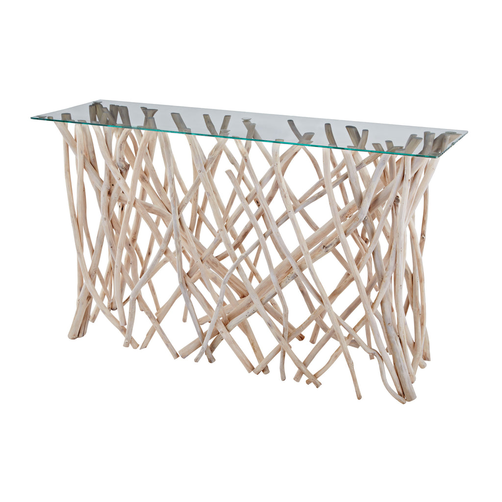 Teak Root Console with glass top - Natural