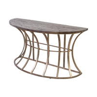 Meditation Console Table in Soft Gold and Solid Grey Pine