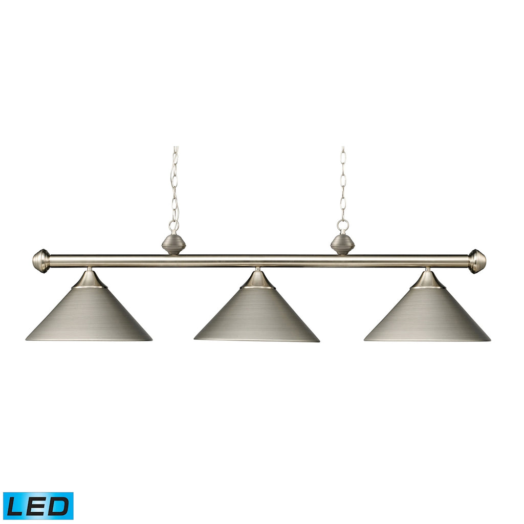 Casual Traditions 3-Light Billiard/Island in Satin Nickel with Metal Shades - LED, 800 Lumens (2400