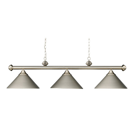 Casual Traditions 3-Light Satin Nickel Billiard Lt W/Metal Shades
