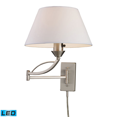 Elysburg 1-Light Swingarm Sconce in Satin Nickel - LED