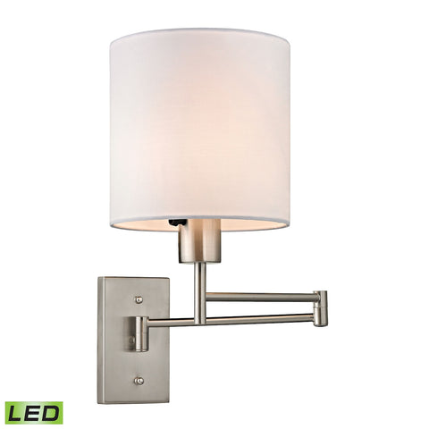 Carson Collection 1 light swingarm in Brushed Nickel - LED Offering Up To 800 Lumens (60 Watt Equiva