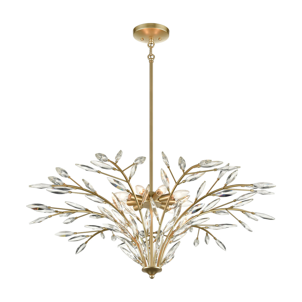 Flora Grace 9-Light Chandelier in Champagne Gold with Clear Crystal