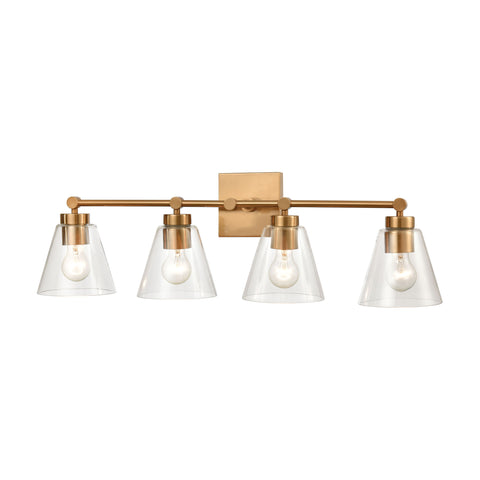 East Point 4-Light Vanity Light in Satin Brass with Clear Glass