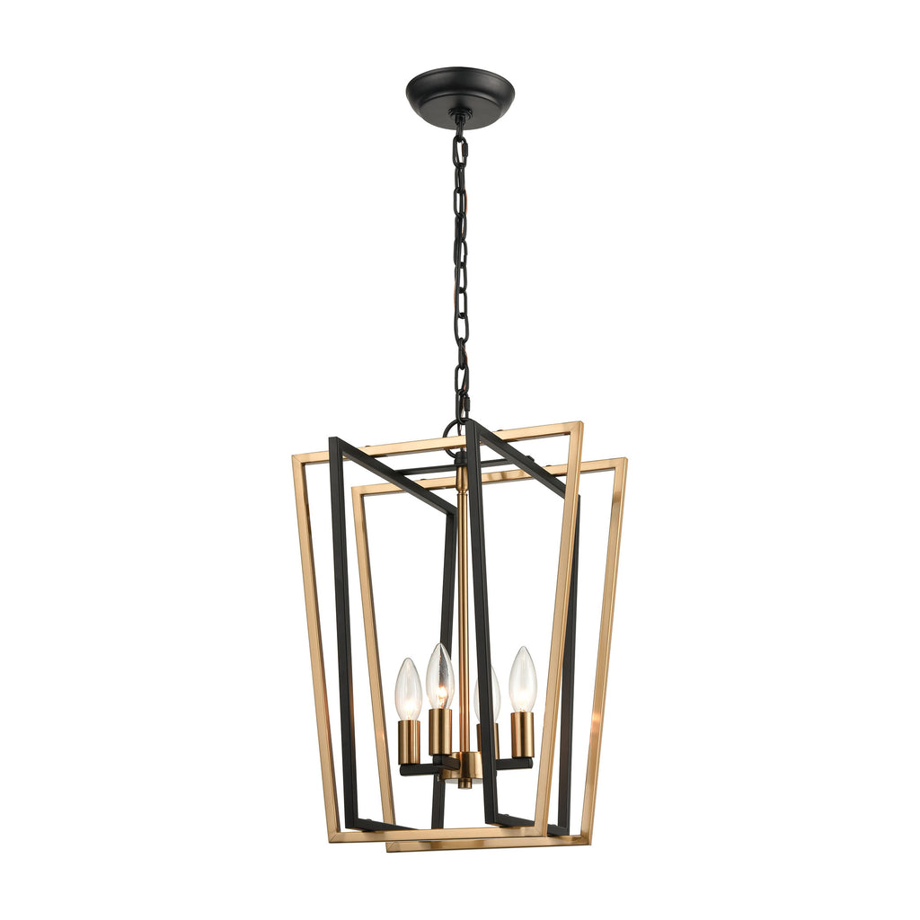 Bridgette 4-Light Pendant in Matte Black and Satin Brass