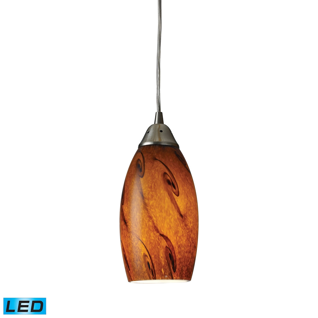 Galaxy 1-Light Pendant in Brown and Satin Nickel Finish - LED Offering Up To 800 Lumens (60 Watt Equ