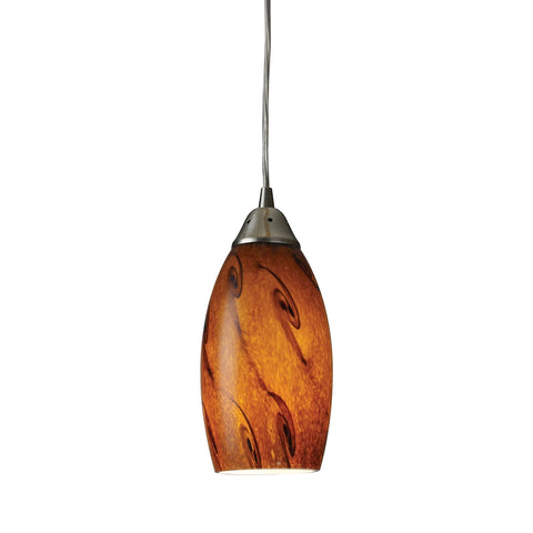 Galaxy 1-Light Pendant in Brown and Satin Nickel Finish