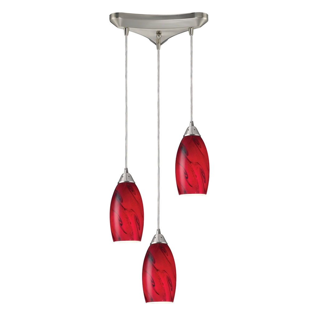 Galaxy 3Lt Red Pendant in Satin Nickel