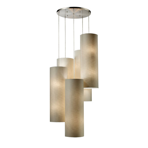 Fabric Cylinder 20-Light Pendant in Satin Nickel with 5 Beige Fabric Drum Shades