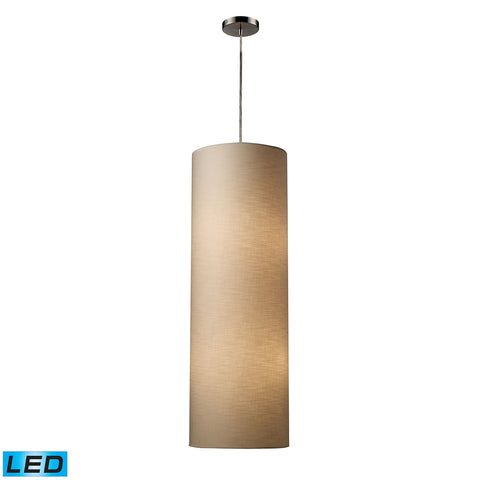 Fabric Cylinder 4-Light Pendant in Satin Nickel - LED, 800 Lumens (3200 Lumens Total) with Full Scal