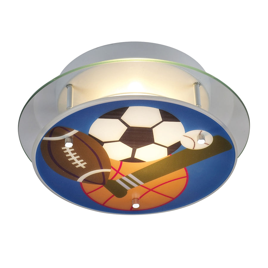 Novelty 2-Light Semi-Flush with Sports Motif