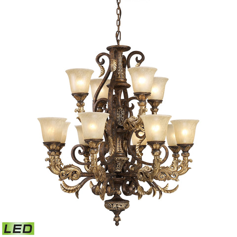 12 Light Chandelier in Burnt Bronze - LED'S Offering Up To 9, 600 Lumens (720 Watt Equivalent) with