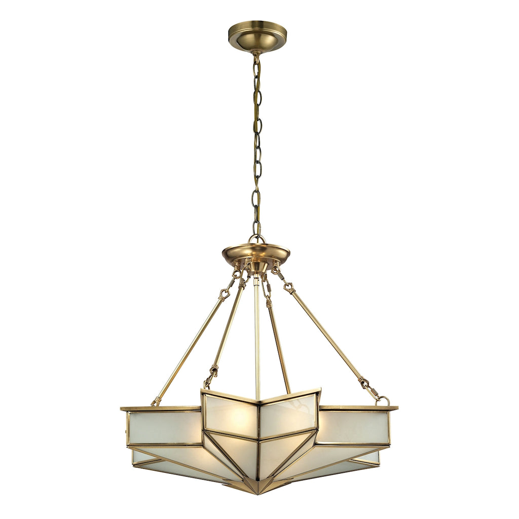 Decostar Collection 4 light pendant in Brushed Brass