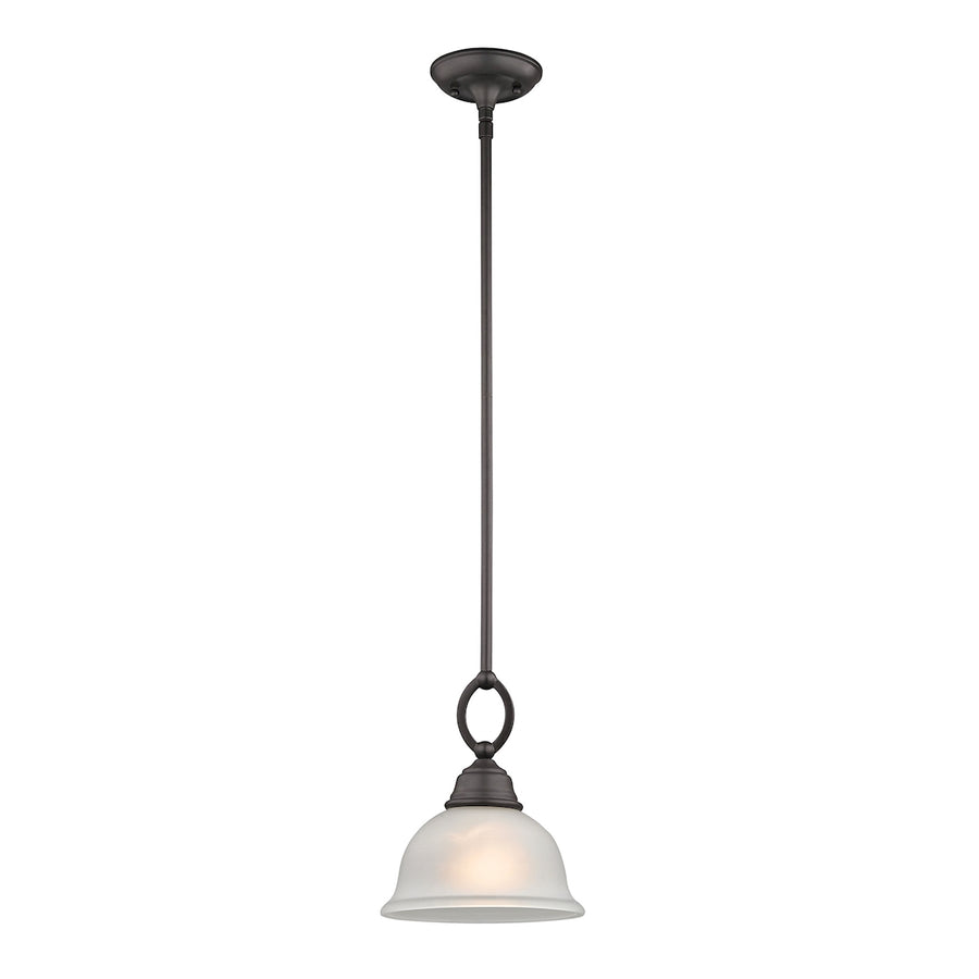 Hamilton 1-Light Pendant in Oil Rubbed Bronze with White Glass Shade