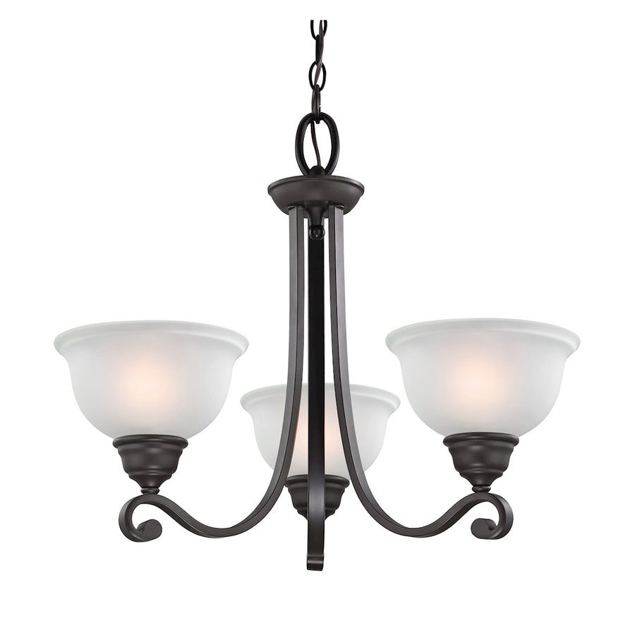 Hamilton 3-Light Chandelier in Oil Rubbed Bronze with White Glass