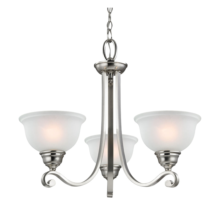 Hamilton 3-Light Chandelier in Brushed Nickel with White Glass