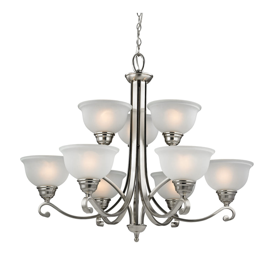 Hamilton 9-Light Chandelier in Brushed Nickel with White Glass
