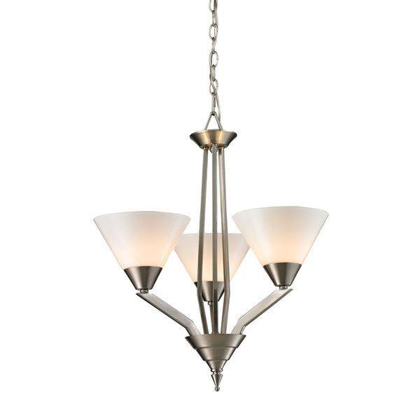 Tribecca 3 Light Chandelier  In Brushed Nickel