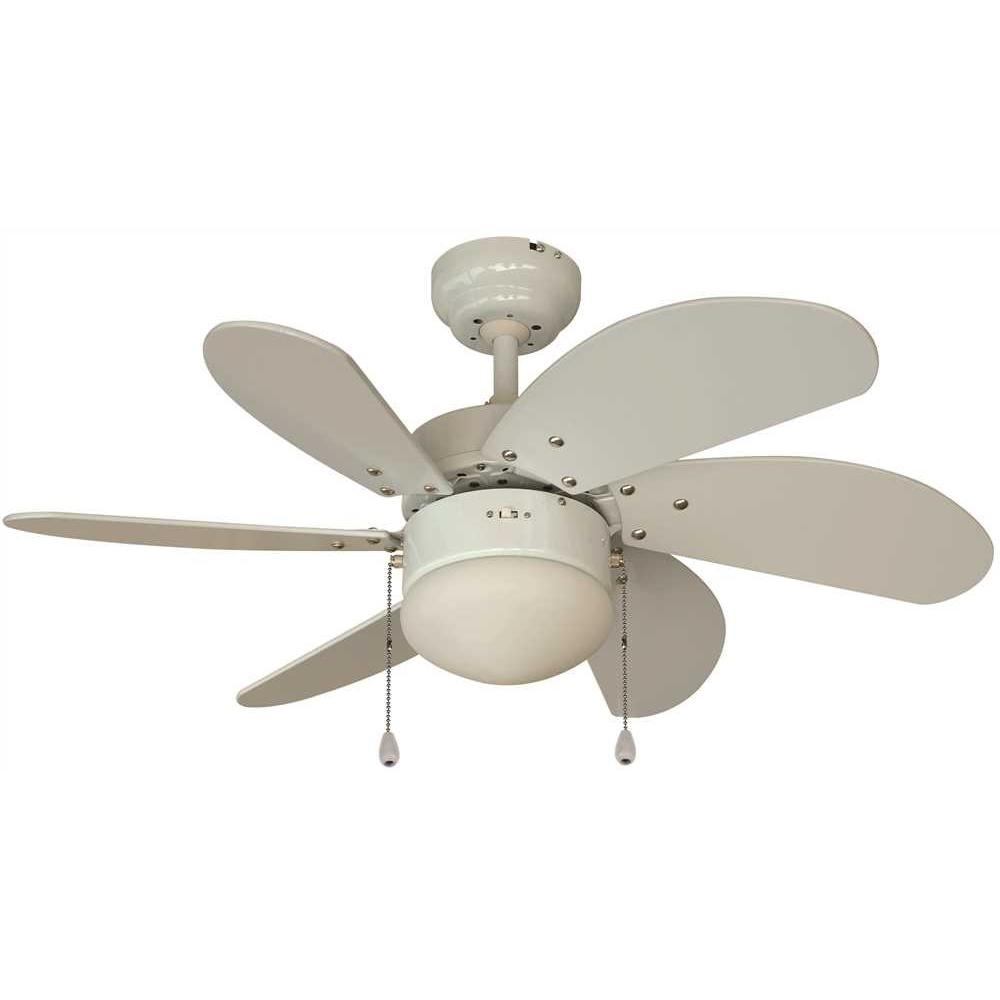 ROYAL COVE 6-BLADE DUAL-MOUNT CEILING FAN WITH LIGHT KIT, WHITE