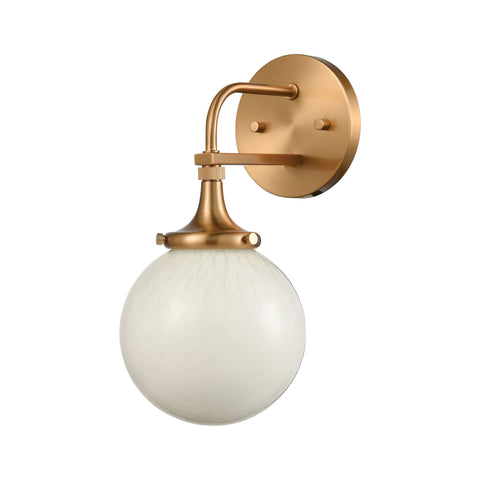 Beverly Hills 1-Light Vanity Light in Satin Brass with White Feathered Glass