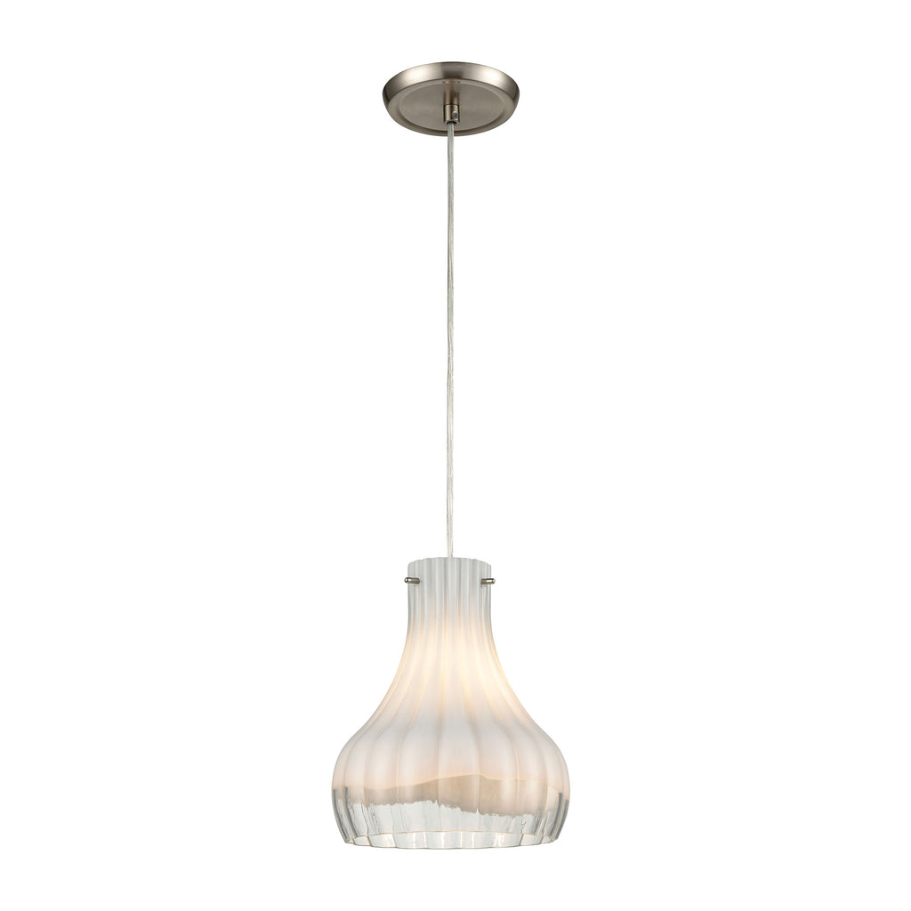 Coastal Scallop 1-Light Mini Pendant in Satin Nickel with Opal White and Clear Glass