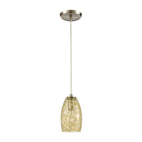 Golden Pasture 1-Light Mini Pendant in Satin Nickel with Gold and Amber Mottled Glass