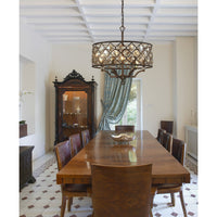 Armand 6-Light Chandelier in Weathered Bronze with Amber Teak Crystals and Metal Shade