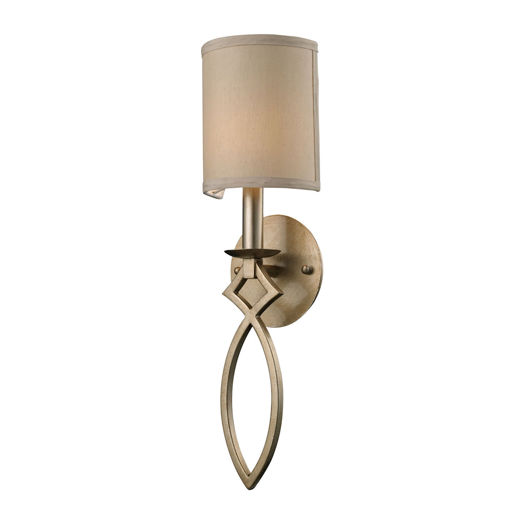 Estonia 1-Light Sconce in Aged Silver with Shade