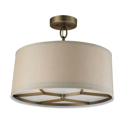 Baxter 3-Light Semi-Flush in Brushed Antique Brass